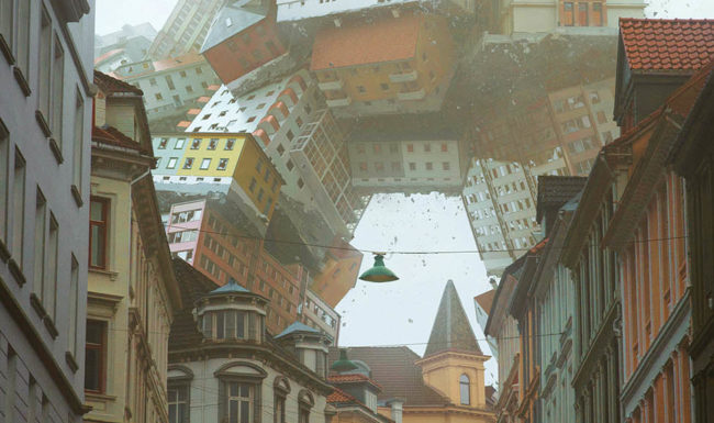 3d render illustration of troll monster made of buildings walking over a street