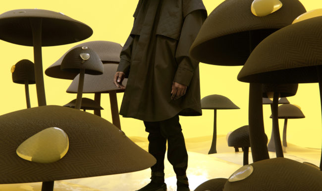 surreal image illustration of a man in black standing in mushrooms