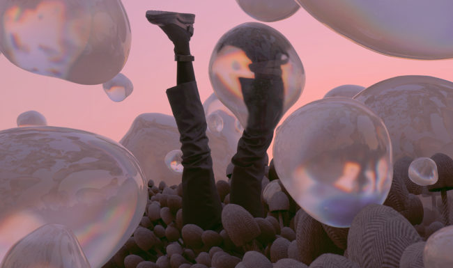surreal image illustration of legs sticking out of the ground with bubbles