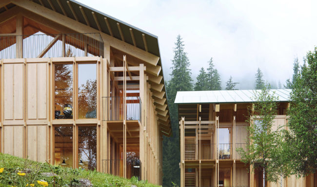 3d architectural render visualization of wooden cabin on a mountain