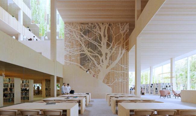 3d architectural render visualization illustration of interior atrium in Gothernburg Library proposal