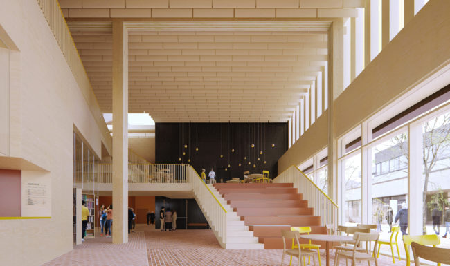 3d architectural render visualization illustration of interior atrium with wood and bricks