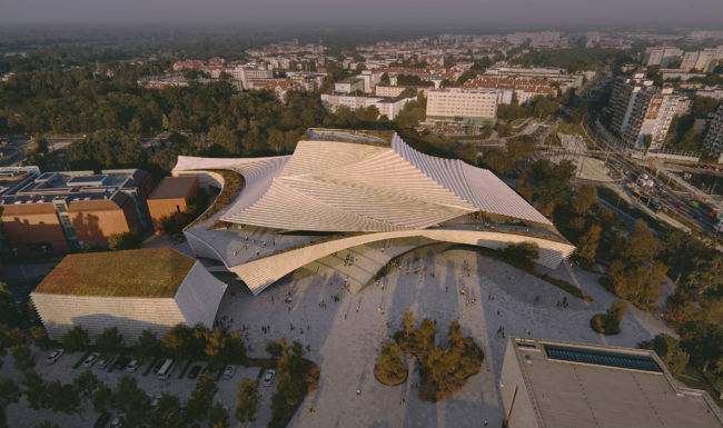 3d architectural render visualization aerial of large public building at sunrise