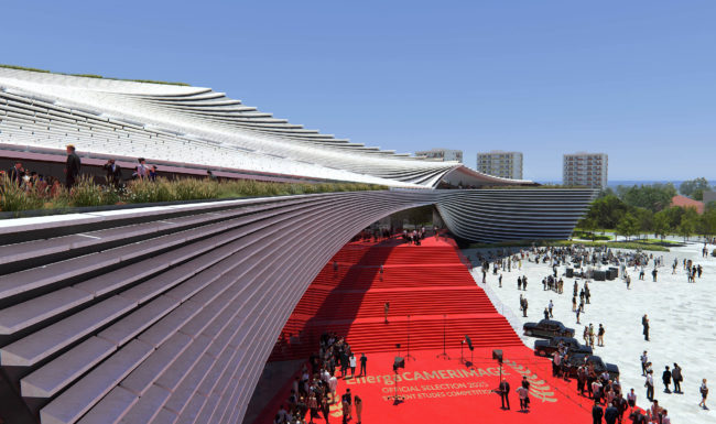 3d architectural render visualization of large public building with red carpet event